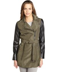 Laundry by Shelli Segal - Olive and Black Belted Moto Trench Coat - Lyst