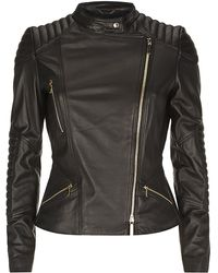 Boss Black Leather Biker Jacket with Ribbed Panels - Lyst