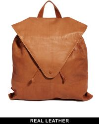 Asos Leather Backpack with Pointed Flap - Lyst