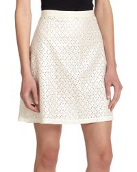 Suno Eyelet Back-Pleat Skirt - Lyst