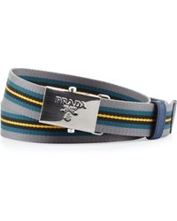 Prada Multi-stripe Plaque Slider Belt - Lyst