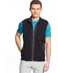 Calvin Klein Mixed Media Pique Fleece Vest black - Lyst