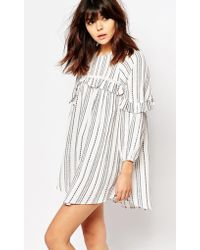 I Love Friday - Smock Dress With Ruffle Trims In Spotted Stripe - Lyst