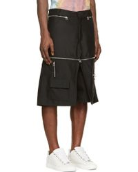 Hood By Air - Black Zippered Overlay Cargo Shorts - Lyst