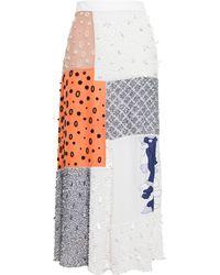 OSMAN Beaded Patchwork Silk Skirt multicolor - Lyst
