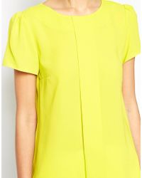Oasis Yellow Crepe Top - Lyst