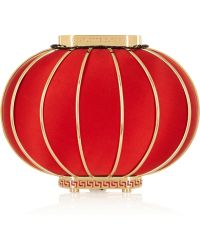 Charlotte Olympia Lantern Satin and Brass Clutch - Lyst