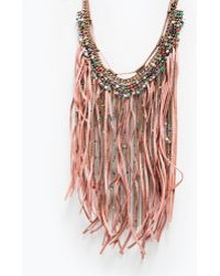 Zara Fringe, Chains And Feathers Necklace - Lyst