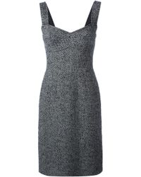 Dolce & Gabbana Herringbone Pattern Dress - Lyst