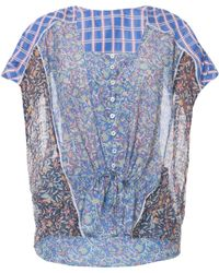 Paul & Joe Lk13 Ss Print Silk Voile Top - Lyst