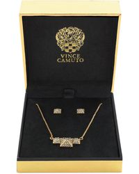 Vince Camuto - Gold-tone Crystal Pyramid Stud Earrings And Necklace Set - Lyst