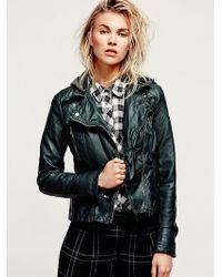 Free People Vegan Leather Hooded Biker Jacket - Lyst
