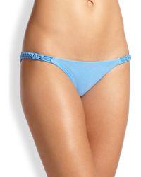 ViX Malibu MacramÉ-Detail Bikini Bottom blue - Lyst