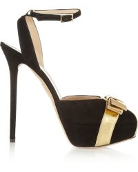 Charlotte Olympia Festive Suede and Metallic Leather Pumps - Lyst