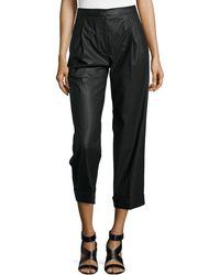Philosophy di Alberta Ferretti Faux-Leather Cropped Straight-Leg Pants - Lyst