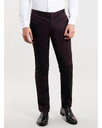 Topman Dark Purple Ultra Skinny Trousers - Lyst