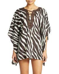 Michael Kors Lace Up Zebra Coverup - Lyst