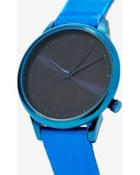Nasty Gal - Komono Estelle Leather Watch - Blue Hologram - Lyst