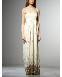 Patrizia Pepe Long Dress In Cotton Muslin With Embroidery - Lyst