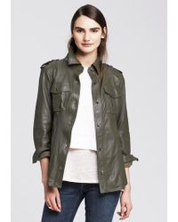 Banana Republic Green Leather Shirt Jacket - Lyst
