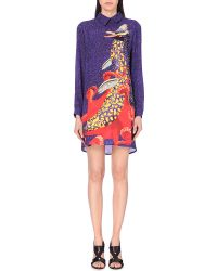 Mary Katrantzou Collared Printed Silk Mini Dress - For Women - Lyst