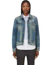 Rag & Bone Blue Distressed Boyfriend Denim Jacket - Lyst