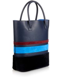 Mother Of Pearl - Striped Leather And Suede Shopper - Lyst