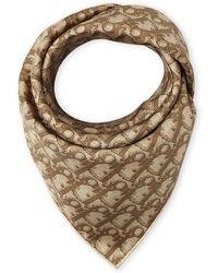 Dior Silk Logo Scarf brown - Lyst