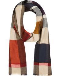 Burberry Prorsum Camel Multicolor Check Cashmere Gauze Scarf - Lyst