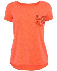 Karen Millen Stud Pocket Tshirt orange - Lyst