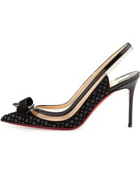 Christian Louboutin Suspenodo Flocked Red-sole Slingback Pump - Lyst