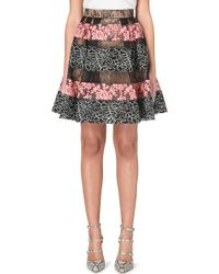 Elie Saab Floral Lace-Panel Skirt - Lyst