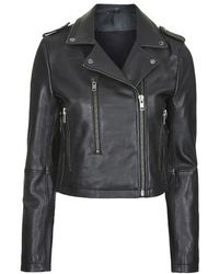 Topshop Neat-Fit Leather Biker Jacket By Boutique - Lyst