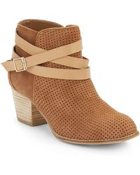 Dolce Vita Jevey Perforated Suede Ankle Boots - Lyst