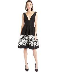 Oscar de la Renta Deep V-Neck Embroidered Silk Faille Dress - Lyst