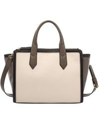 Fossil Knox Leather Colorblock Shopper - Lyst