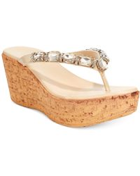 Callisto Risky Jewel Platform Wedge Thong Sandals - Lyst