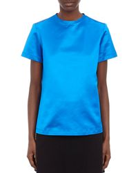 Proenza Schouler Blue Satin Top - Lyst