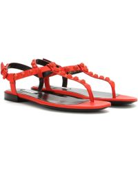Balenciaga Classic Screw Matte Leather Sandals orange - Lyst