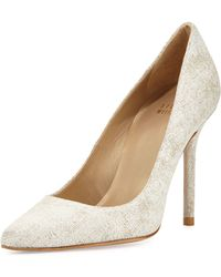 Stuart Weitzman Nouveau Linen Point-toe Pump - Lyst