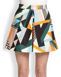 MSGM Geometric-Print Skirt - Lyst