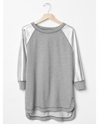 Gap Metallic Three-quarter Sleeve Sweatshirt - Lyst