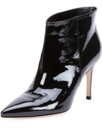 Gianvito Rossi Patent Pointtoe Ankle Bootie Black - Lyst