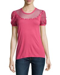 RED Valentino Puffsleeve Bow Jersey Tee - Lyst