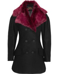 Vivienne Westwood Anglomania Risk Faux Fur and Woolblend Felt Peacoat - Lyst