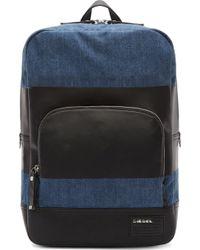 Diesel Blue and Black Denim Blockin Backpack - Lyst