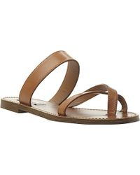 Steve Madden Aintso Faux-Leather Flat Sandals - For Women - Lyst
