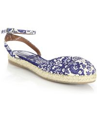 Tabitha Simmons | Paisley Linen Espadrille Ankle-strap Flats | Lyst