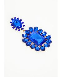 Missguided Statement Crystal Drop Earrings Blue - Lyst