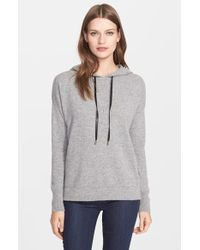 Autumn Cashmere - Crisscross Back Leather Trim Cashmere Hooded Sweater - Lyst